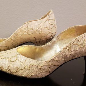 1990's gold ivory fabric pumps shoes with box 6M